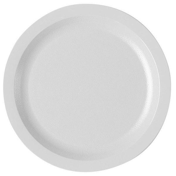 "Cambro 725CWNR148 Camwear 7 1/4"" White Polycarbonate Narrow Rim Plate - 48/Case"