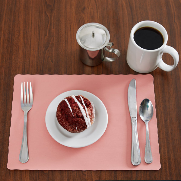 """10"""" x 14"""" Dusty Rose Colored Paper Placemat with Scalloped Edge - 1000/Case"""