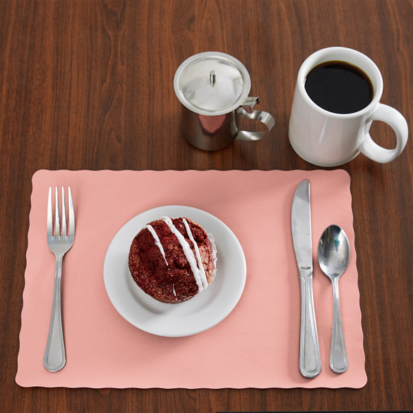"""Choice 10"""" x 14"""" Dusty Rose Colored Paper Placemat with Scalloped Edge - 1000/Case Main Image 3"""
