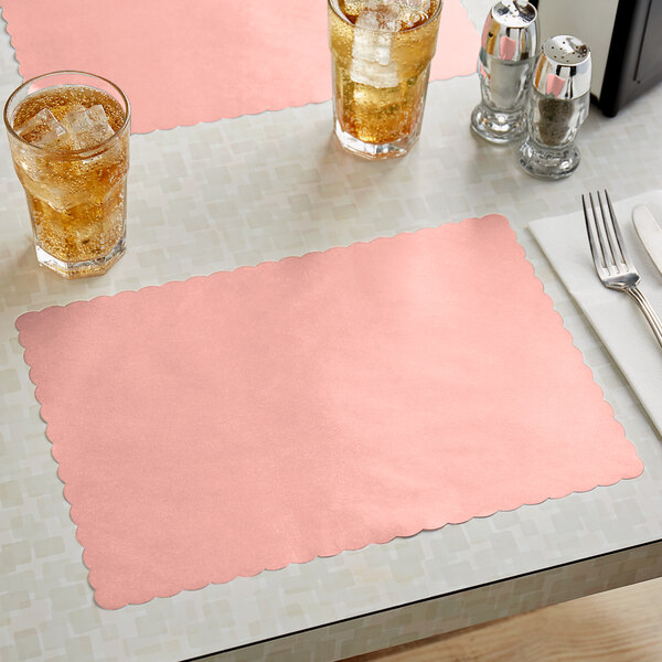 """Choice 10"""" x 14"""" Dusty Rose Colored Paper Placemat with Scalloped Edge - 1000/Case Main Image 2"""