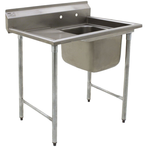 "Eagle Group 314-24-1-24 31 3/4"" x 52 3/4"" One Bowl Stainless Steel Commercial Compartment Sink with Drainboard"
