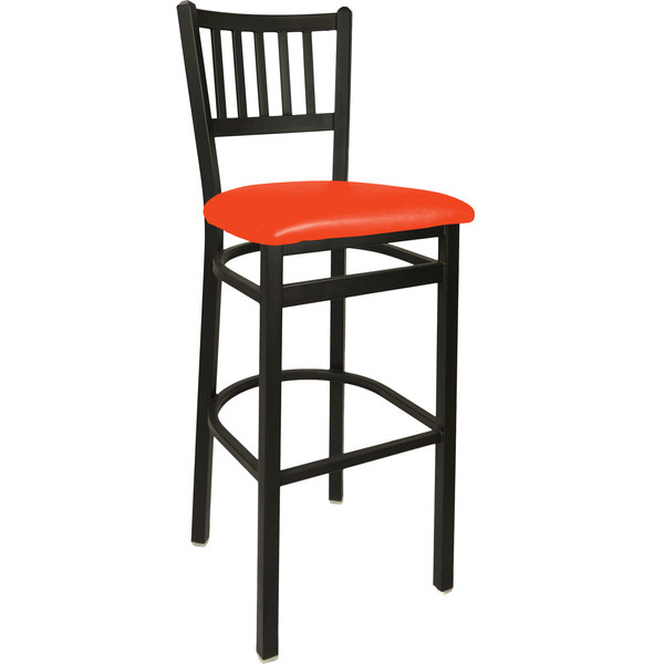 "BFM Seating 2090BRDV-SB Troy Sand Black Steel Bar Height Chair with 2"" Red Vinyl Seat"