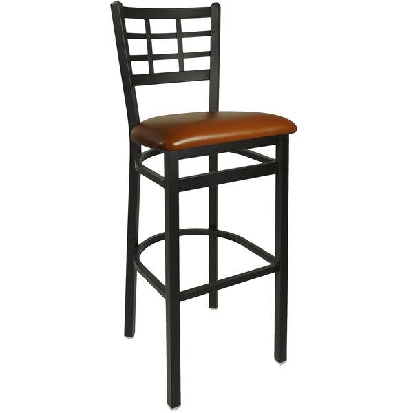 "BFM Seating 2163BLBV-SB Marietta Sand Black Steel Bar Height Chair with 2"" Light Brown Vinyl Seat"