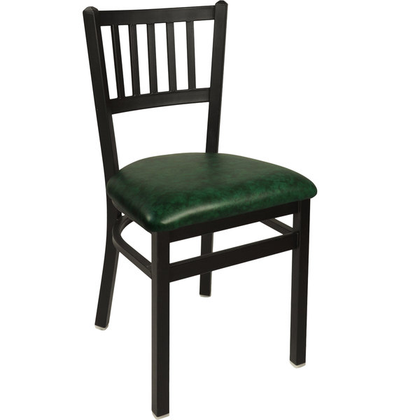 "BFM Seating 2090CGNV-SB Troy Sand Black Steel Side Chair with 2"" Green Vinyl Seat"