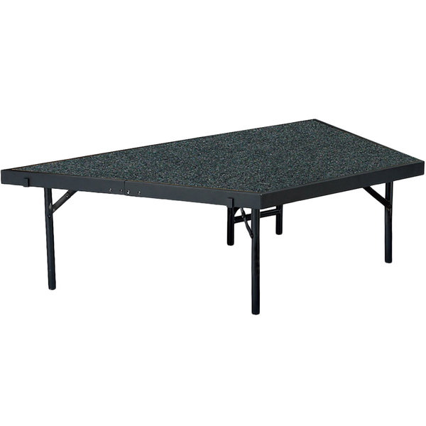 """National Public Seating SP3616C Portable Stage Pie Unit with Gray Carpet - 36"""" x 16"""""""