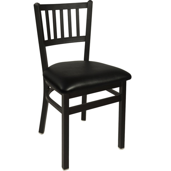 "BFM Seating 2090CBLV-SB Troy Sand Black Steel Side Chair with 2"" Black Vinyl Seat"