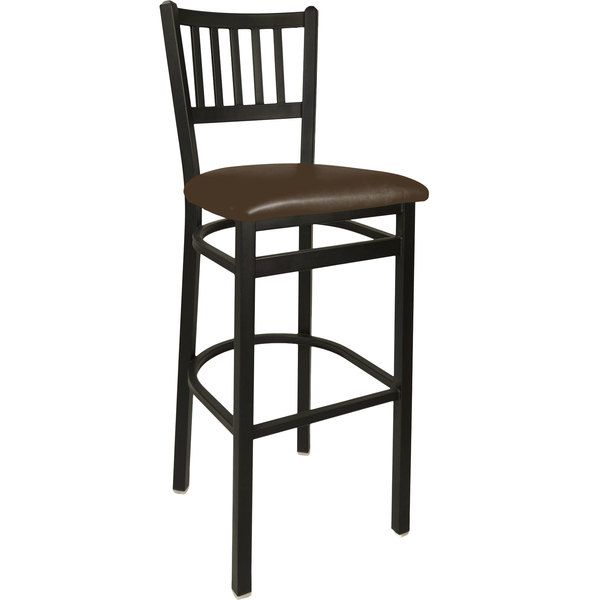 "BFM Seating 2090BDBV-SB Troy Sand Black Steel Bar Height Chair with 2"" Dark Brown Vinyl Seat Main Image 1"