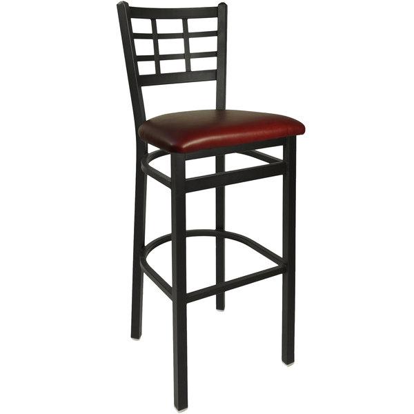 "BFM Seating 2163BBUV-SB Marietta Sand Black Steel Bar Height Chair with 2"" Burgundy Vinyl Seat"