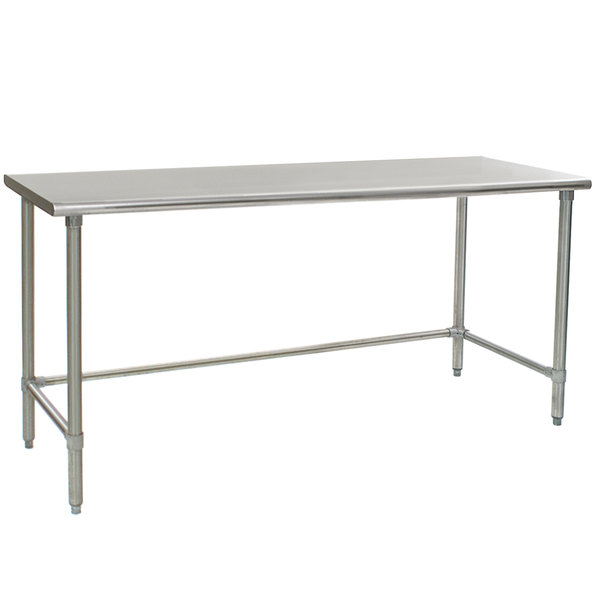 """Eagle Group T3672STEB 36"""" x 72"""" Open Base Stainless Steel Commercial Work Table"""