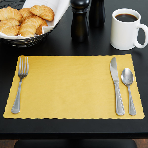 """10"""" x 14"""" Gold Colored Paper Placemat with Scalloped Edge - 1000/Case"""