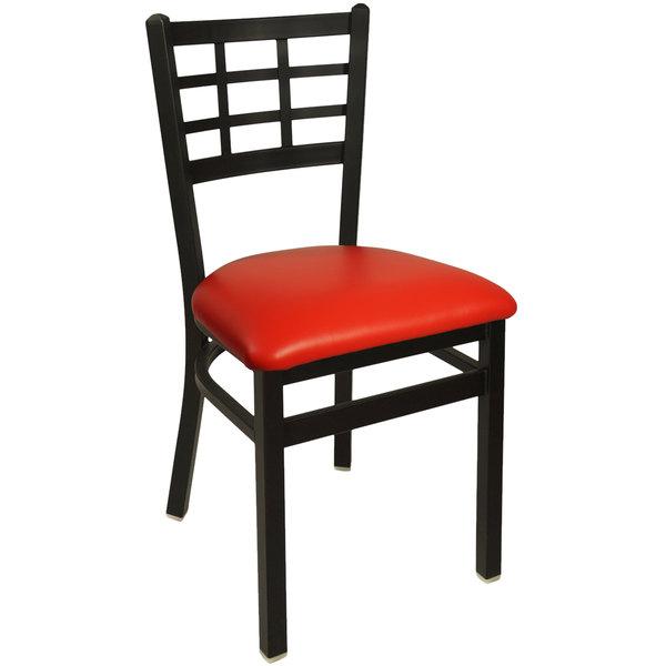 "BFM Seating 2163CRDV-SB Marietta Sand Black Steel Side Chair with 2"" Red Vinyl Seat"