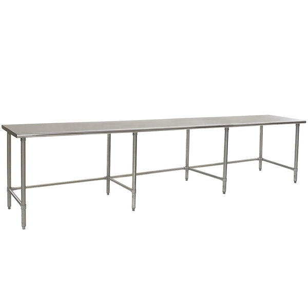 """Eagle Group T30132STEB 30"""" x 132"""" Open Base Stainless Steel Commercial Work Table"""