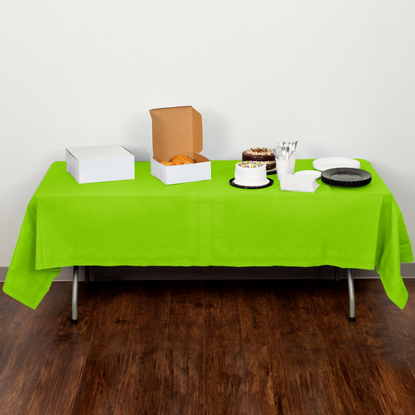 """Creative Converting 713123 54"""" x 108"""" Fresh Lime Green Tissue / Poly Table Cover - 6/Case Main Image 5"""