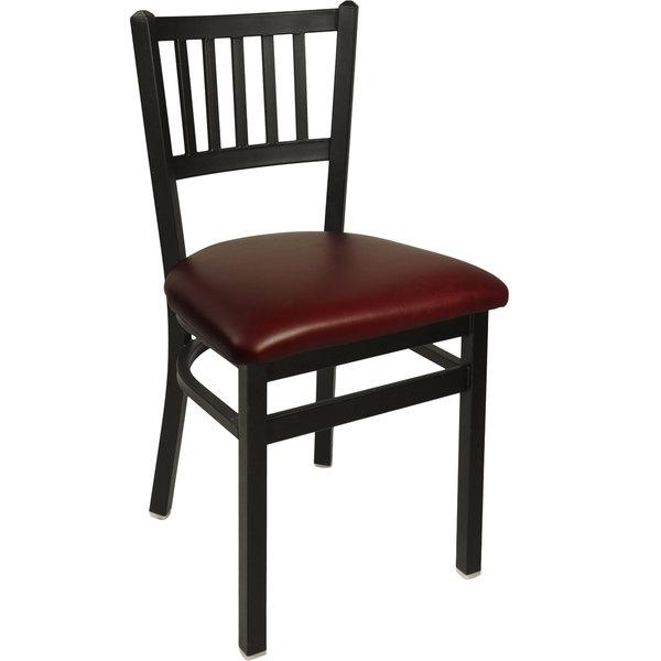 "BFM Seating 2090CBUV-SB Troy Sand Black Steel Side Chair with 2"" Burgundy Vinyl Seat"
