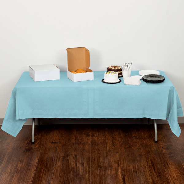 """Creative Converting 710229 108"""" x 54"""" Pastel Blue Tissue / Poly Table Cover - 6/Case"""