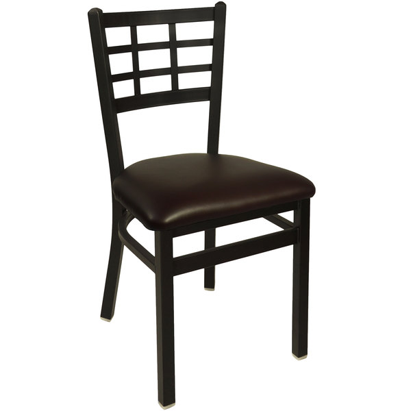 "BFM Seating 2163CDBV-SB Marietta Sand Black Steel Side Chair with 2"" Dark Brown Vinyl Seat"