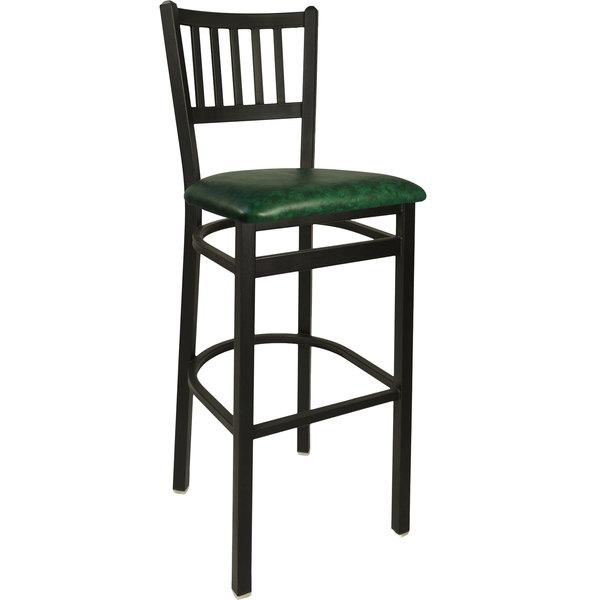 "BFM Seating 2090BGNV-SB Troy Sand Black Steel Bar Height Chair with 2"" Green Vinyl Seat"