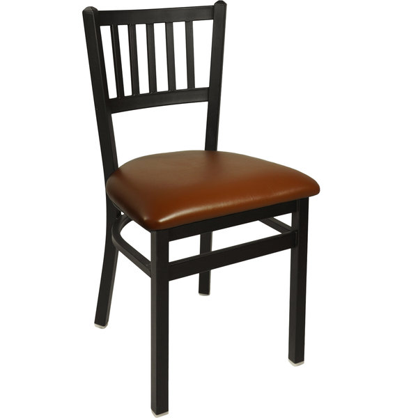 "BFM Seating 2090CLBV-SB Troy Sand Black Steel Side Chair with 2"" Light Brown Vinyl Seat"