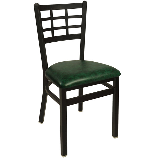 "BFM Seating 2163CGNV-SB Marietta Sand Black Steel Side Chair with 2"" Green Vinyl Seat Main Image 1"