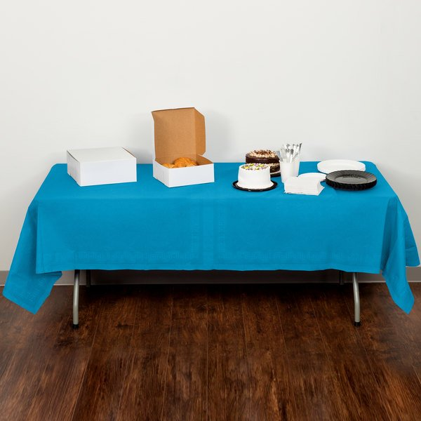 """Creative Converting 713131 54"""" x 108"""" Turquoise Blue Tissue / Poly Table Cover - 6/Case"""