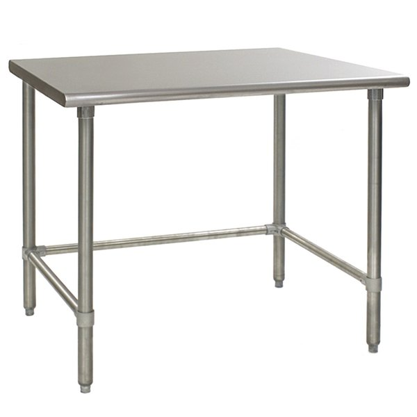 """Eagle Group T3648STE 36"""" x 48"""" Open Base Stainless Steel Commercial Work Table"""