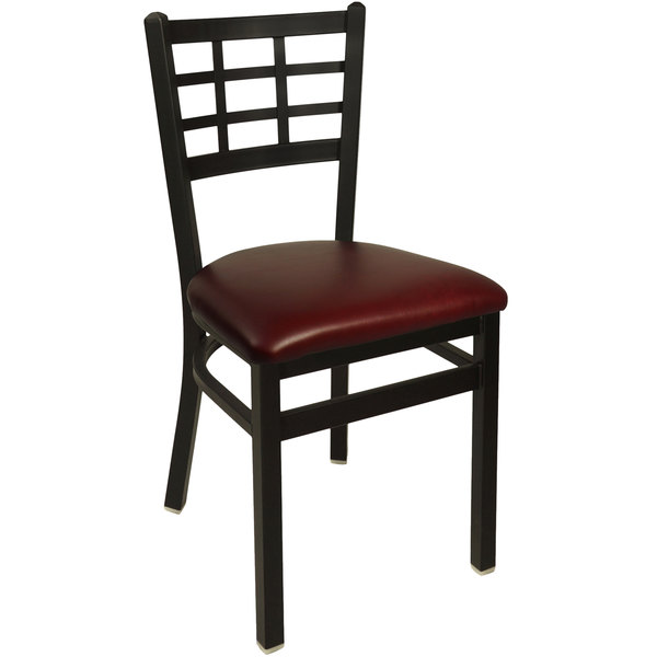 "BFM Seating 2163CBUV-SB Marietta Sand Black Steel Side Chair with 2"" Burgundy Vinyl Seat"