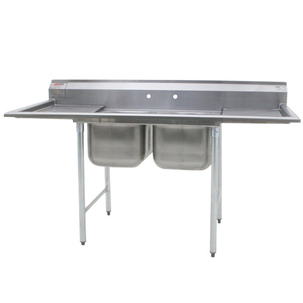 """Eagle Group 414-18-2-24 88"""" x 33 3/8"""" Two Bowl Stainless Steel Commercial Compartment Sink with Two Drainboards"""