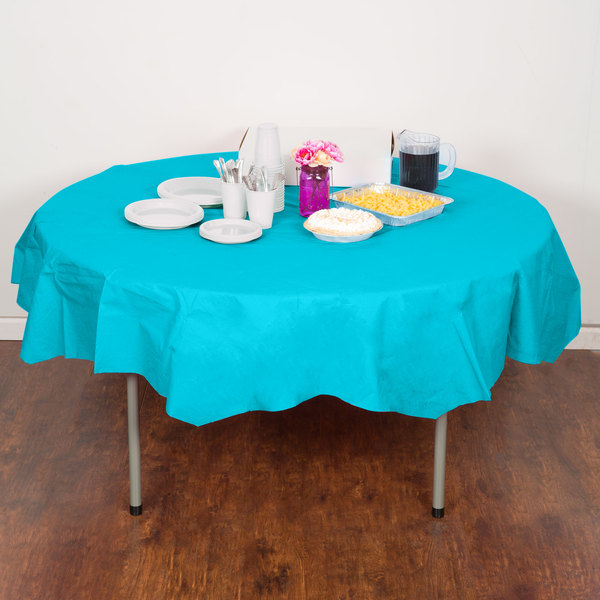 "Creative Converting 923522 82"" Bermuda Blue OctyRound Tissue / Poly Table Cover - 12/Case"