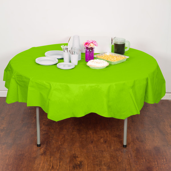 """Creative Converting 923123 82"""" Fresh Lime Green OctyRound Tissue / Poly Table Cover - 12/Case"""