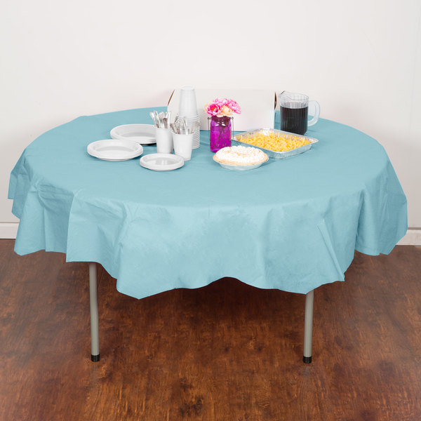 """Creative Converting 923882 82"""" Pastel Blue OctyRound Tissue / Poly Table Cover - 12/Case Main Image 4"""