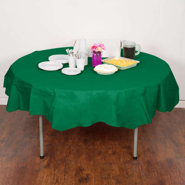 "Creative Converting 923261 82"" Emerald Green OctyRound Tissue / Poly Table Cover - 12/Case"