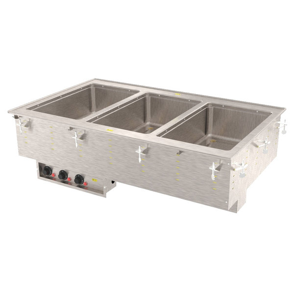 Vollrath 3640550 Modular Drop In Three Compartment Hot Food Well with Infinite Controls and Manifold Drain - 208V, 1875W