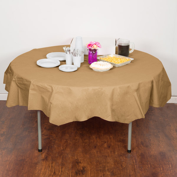 "Creative Converting 923276 82"" Glittering Gold OctyRound Tissue / Poly Table Cover - 12/Case"