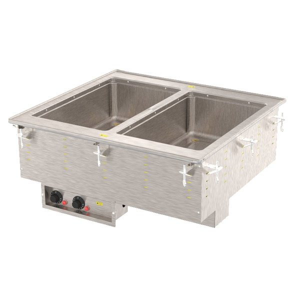 Vollrath 3639980 Modular Drop In Two Compartment Hot Food Well with Thermostatic Controls, Manifold Drain, and Auto-Fill - 120V, 1250W