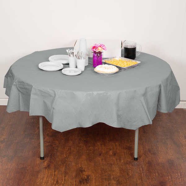 "Creative Converting 923281 82"" Shimmering Silver OctyRound Tissue / Poly Table Cover - 12/Case"