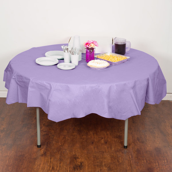 "Creative Converting 923265 82"" Luscious Lavender Purple OctyRound Tissue / Poly Table Cover - 12/Case"