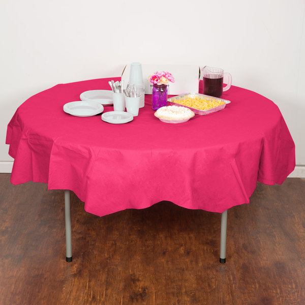 """Creative Converting 923277 82"""" Hot Magenta Pink OctyRound Tissue / Poly Table Cover - 12/Case Main Image 4"""