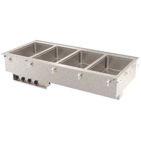 Vollrath 3640760 Modular Drop In Four Compartment Hot Food Well with Infinite Controls, Manifold Drain, and Auto-Fill - 208V, 2500W