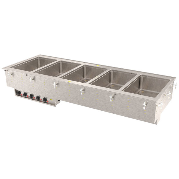 Vollrath 3640860 Modular Drop In Five Compartment Hot Food Well with Infinite Controls, Manifold Drain, and Auto-Fill - 208V, 3125W