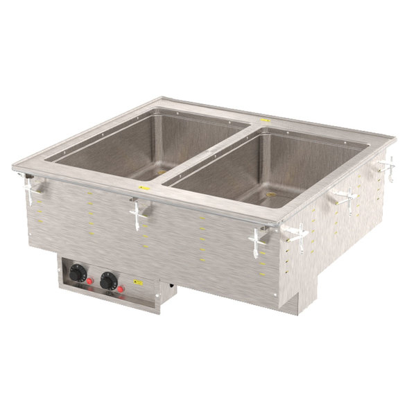Vollrath 3640060 Modular Drop In Two Compartment Hot Food Well with Infinite Controls, Manifold Drain, and Auto-Fill - 208V, 1250W Main Image 1