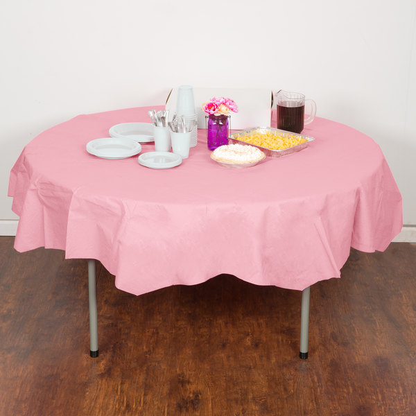 "Creative Converting 923274 82"" Classic Pink OctyRound Tissue / Poly Table Cover - 12/Case Main Image 4"