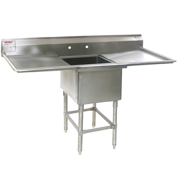 """Eagle Group FN2018-1-24-14/3 One 20"""" x 18"""" Bowl Stainless Steel Spec-Master Commercial Compartment Sink with Two 24"""" Drainboards"""