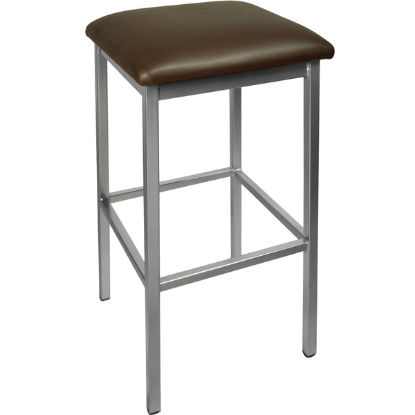 "BFM Seating 2510BDBV-SV Trent Silver Steel Barstool with 2"" Dark Brown Vinyl Seat Main Image 1"