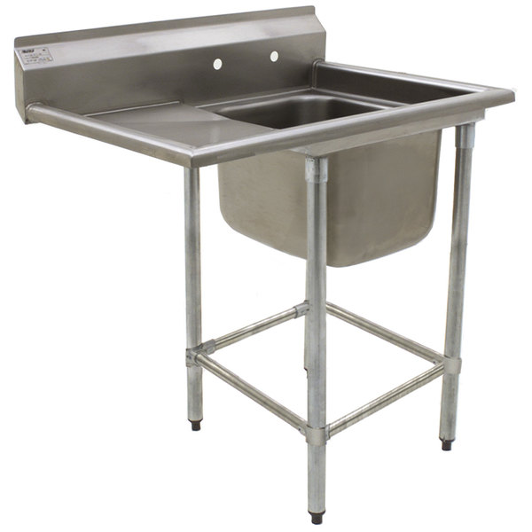 """Left Drainboard Eagle Group FN2018-1-18-14/3 One 20"""" x 18"""" Bowl Stainless Steel Spec-Master Commercial Compartment Sink with 18"""" Drainboard"""