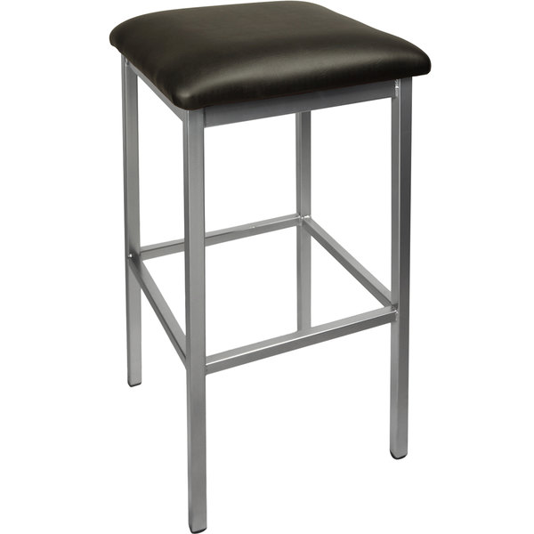 "BFM Seating 2510BBLV-SV Trent Silver Steel Barstool with 2"" Black Vinyl Seat Main Image 1"
