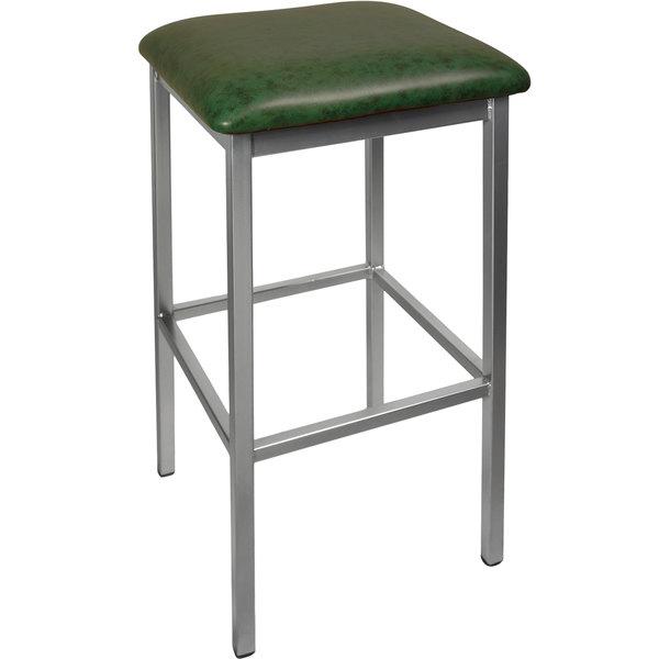 "BFM Seating 2510BGNV-SV Trent Silver Steel Barstool with 2"" Green Vinyl Seat"