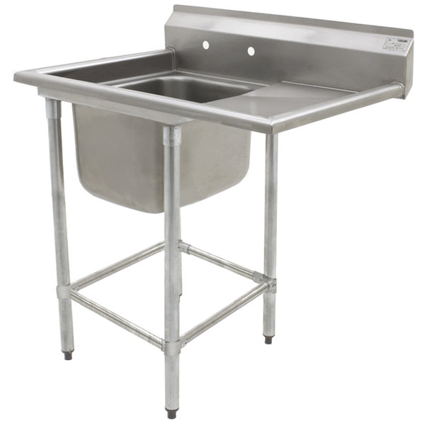 "Right Drainboard Eagle Group FN2424-1-24-14/3 One 24"" x 24"" Bowl Stainless Steel Spec-Master Commercial Compartment Sink with 24"" Drainboard"