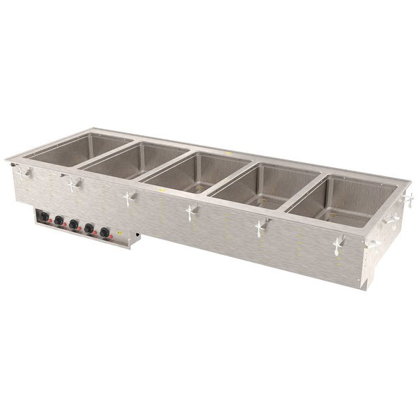 Vollrath 3640851 Modular Drop In Five Compartment Hot Food Well with Infinite Controls and Manifold Drain - 208/240V, 5000W
