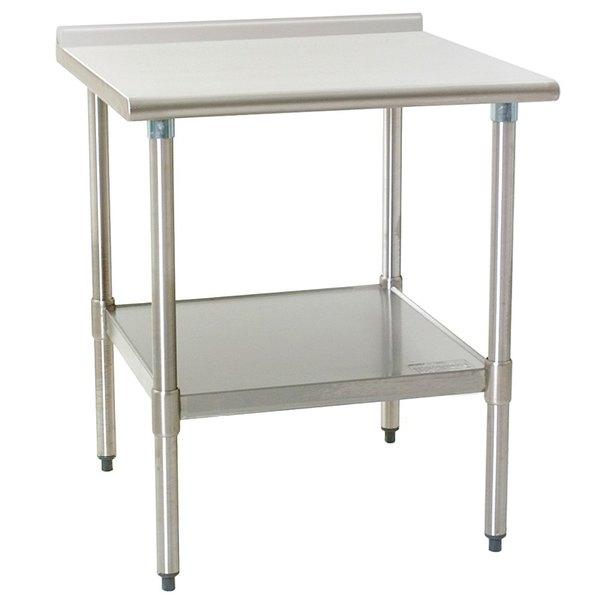 "Eagle Group UT3036EB 30"" x 36"" Stainless Steel Work Table with Undershelf and 1 1/2"" Backsplash Main Image 1"
