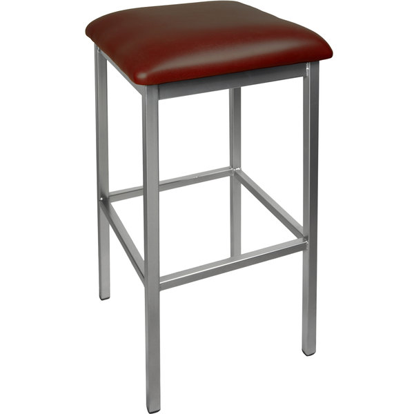 "BFM Seating 2510BBUV-SV Trent Silver Steel Barstool with 2"" Burgundy Vinyl Seat Main Image 1"